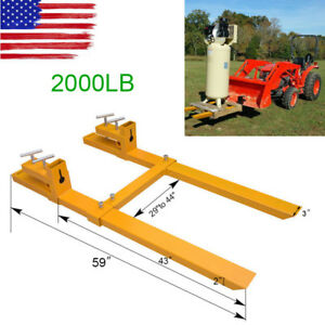 2000lb Clamp On Pallet Fork Loader With Adjustable Stabilizer Bar Bucket Tractor