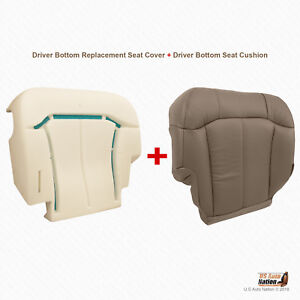 2001 2002 Gmc Sierra 2500 2500hd Driver Bottom Tan Leather Cover W Foam Cushion
