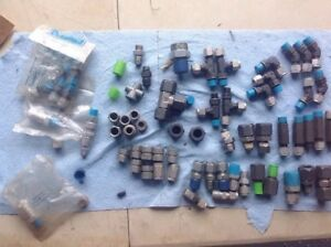 Misc Lot Of Connectors Swagelok Is Labeled On Some a Mix Of New And Used