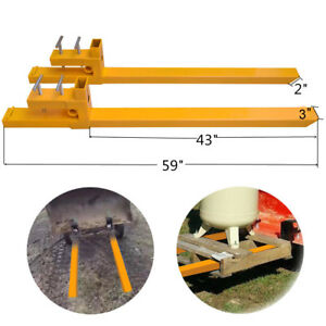 2000lb Dual Clamp On Pallet Forks Loader Bucket Tractor Stabilizer Bar Yellow