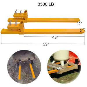 3500lb Clamp On Pallet Forks Loader Bucket Tractor Stabilizer Bar Us Seller