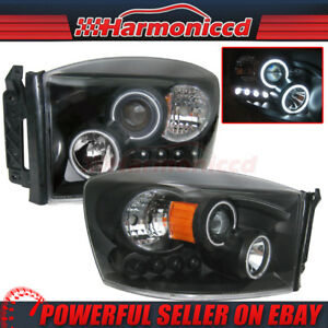 Fits 06 09 Dodge Ram 1500 2500 3500 Headlights Ccfl Halo Projector Led Drl Pair