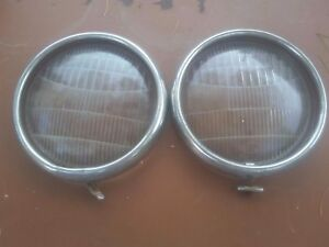 Antique Vintage Unknown Ford Headlight Lens And Trim Rings