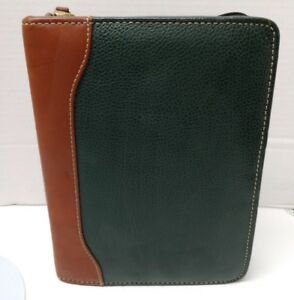Franklin Quest Planner Green Brown Leather Organizer Dividers 6 Rings 1 25