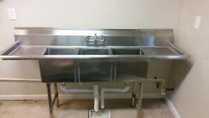 75 Commercial Stainless Steel Triple Sink With Side Drain Pans Nsf