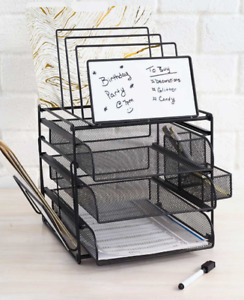 Black Office Desk Desktop Supplies Storage Holder Organizer With Dry Erase Board
