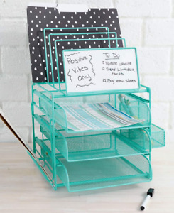 Green Office Desk Desktop Supplies Storage Holder Organizer With Dry Erase Board
