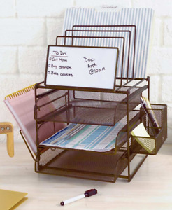Bronze Office Desk Desktop Supplies Storage Holder Organizer W Dry Erase Board