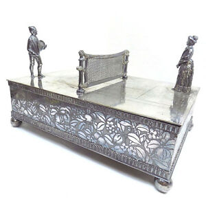 Meriden Figural Cigar Box Humidor Tennis Player Court Antique Silver Plate Rare
