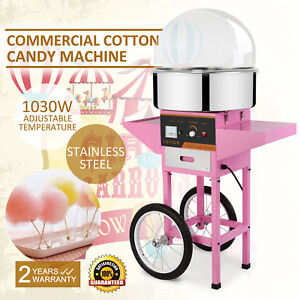 Electric Commercial Cotton Candy Machine Floss Maker Pink W cart Cover
