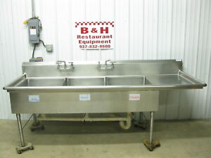 98 3 4 Heavy Duty 3 Bowl Compartment Stainless Steel Sink W Right Drain Board
