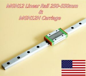 Mgn12h Linear Sliding Miniature Guide 250 300 350 400 450 500 550mm With Block
