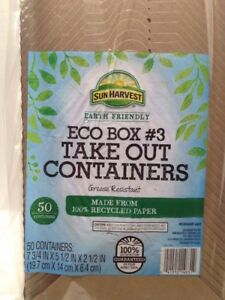 3 Disposable Take Out Container sun Harvest Eco Box 7 75 x5 5 x2 5 200 Count