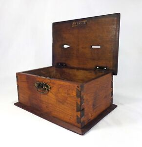 Mid 19th Cent Antique American Masonic Dovetailed Wooden Hinged Pine Ballot Box