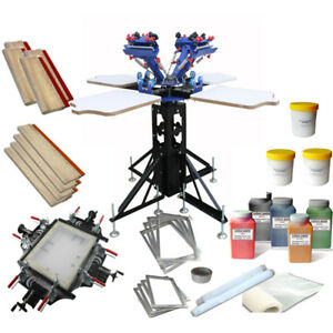 4 Color Screen Printing Stretching Kit Manual Screen Stretcher Ink Squeegee