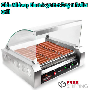 Olde Midway Electric 30 Hot Dog 11 Roller Grill Cooker Machine 1200 watt With Co