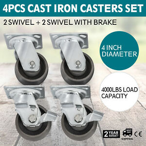 4 Swivel Casters 4 Heavy Duty Cast Iron Hub Non Skid Mark Wheels 2 Swivel Brake