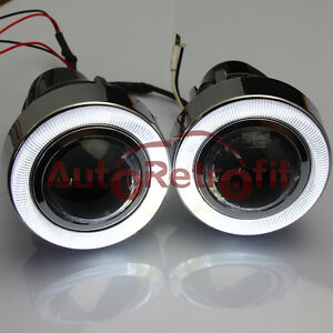 Universal 55w Halogen Fog Light Lamp Projector With Clear Lens White Angel Eye