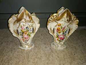 Pair Antique Old Paris Porcelain Vases Floral