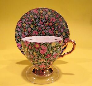 Tuscan Mille Fleurs Chintz Bone China Made In England Tea Cup Saucer