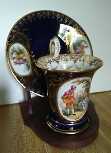 Dresden Porcelain Hand Painted Cup And Saucer Set W Stand
