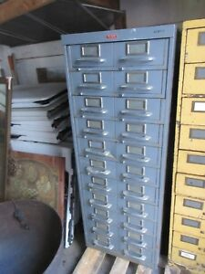 Vintage Tab Steel Industrial Metal Drawer Cabinet Gray