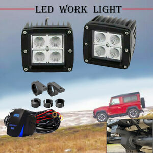 4 Led Light With Tow Trailer Hitch Mount Bracket Kit Offroad Backup Reverse