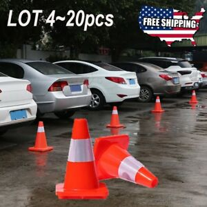 Lot 20 Traffic Cones 12 Slim Fluorescent Reflective Road Safety Parking Cones X