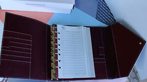 Classic Franklin Covey Planner Sim Burgundy Leather Snap Flap Envelope Binder