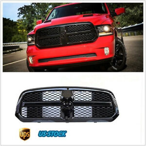 Glossy Black Front Bumper Mesh Grille With Logo For Dodge 2013 2017 Ram 1500
