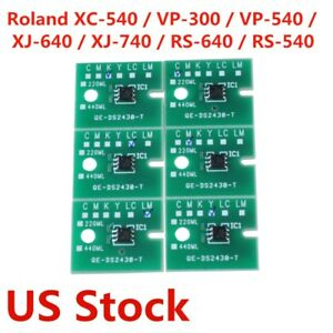 Usa Stock permanent Roland Vp 300 Vp 540 Eco Solvent Chips 6pcs Cmyklclm