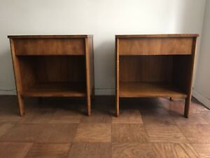Pair Of John Widdicomb Bedside Nightstands End Tables Mid Century Modern 1950s