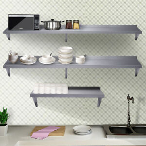 3 Size Floating Wall Shelf Wall Mounted Kitchen Shelf Stainless Steel Bar Cafe