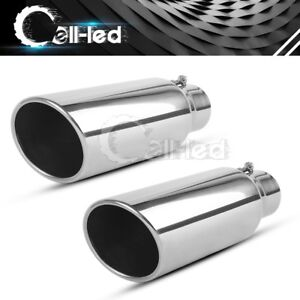 2x Stainless Steel Bolt On Exhaust Tips 2 5 Inlet 4 Outlet 12 Long Tailpipe