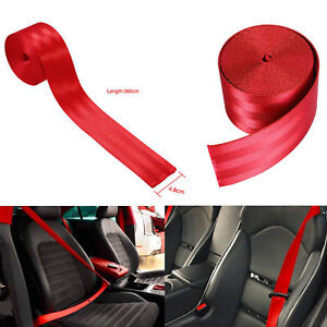 Seat Belt Webbing Polyester Seat Lap Retractable Nylon Safety Strap Diy 3 6m Red