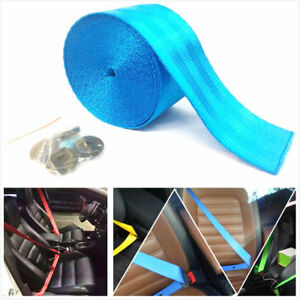 Seat Belt Lap Webbing Polyester Retractable Nylon Safety Strap 3 6m Light Blue