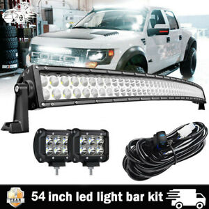 2004 14 Ford F150 Svt Raptor 54 Curved Led Light Bar Combo 4 Pods Cube Wirings
