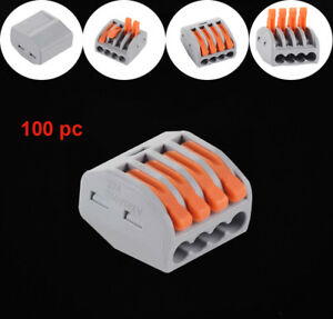 100pcs Connector Cable Fast Wire Push In 4 Port 32 Safe Building Terminal Block