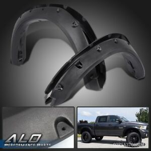 Pocket Rivet Style Fender Flares Textured Black Set For 09 18 Dodge Ram 1500