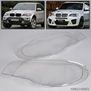 Pair Lens Lamp Cover For Bmw X5 E70 2007 2012 Headlight Headlampshade Bright