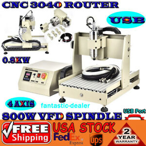 4 Axis Cnc 3040 Router Wood Pcb Milling Carving Engraving Desktop Cutter Machine