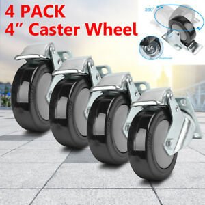 4pack Heavy Duty Plate Caster Set 4 Steel Swivel Wheels Brake Casters Non Skid