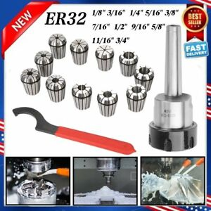 Mt2 Shank Er32 Chuck With 11 Pc Collets Set New Mx