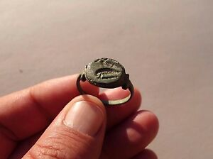 Ancient Roman Bronze Engraved Seal Ring
