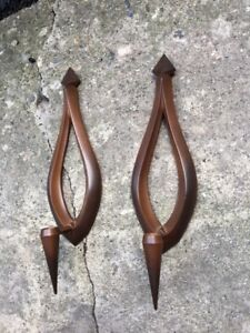 Pair Vintage 1966 Syroco Mid Century Modern Candle Holder Wall Hanging Sconces