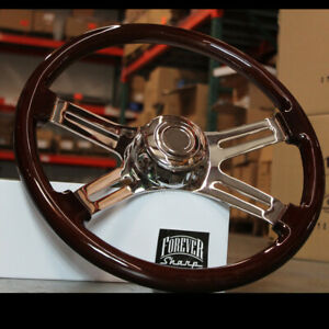 18 Dark Wood Steering Wheel Chrome Dual Spoke Kenworth Peterbilt Hub Included