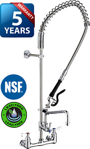 Commercial Kitchen Wall mount Pre rinse Faucet W Add on Faucet 5 Year Warranty