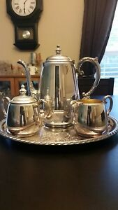 Wm Rogers Silver Plate Tea Set Coffee Tea Creamer Sugar With Tray