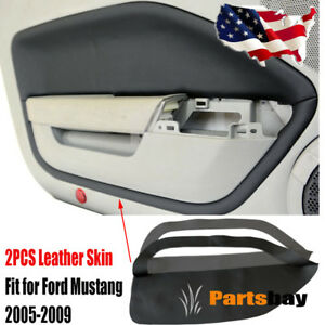 2pcs For Ford Mustang 2005 2009 Leather Door Panel Insert Card Cover Kit Black