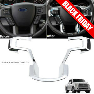 Chrome Steering Wheel Moulding Trims Cover For 2015 2017 Ford F150 Accessories